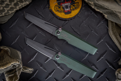 S & W Metalworks Go2 Forest Green Tanto Black