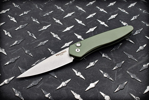 Protech Knives Newport Automatic Knife Dark Green Stonewash Blade - 3405 Green