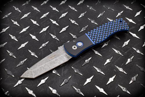 Emerson/Protech CQC7 Tanto Automatic Knife Blue/Black G-10 Acid Washed Blade - E7T34