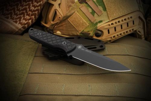 Spartan Blades: Alala Black Canvas Micarta Handles and Black Blade
