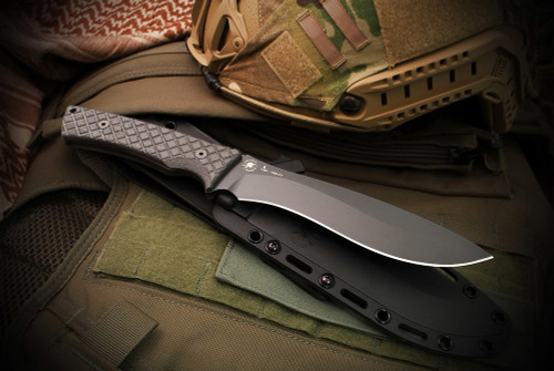 Spartan Blades Machai - Pro Grade - Black Canvas Micarta Handles and Black Blade