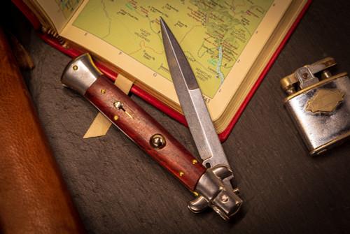 "Frank Beltrame Knives 9"" Italian Stiletto Automatic Bayonet Knife Cocobolo Teflon Coated Blade"