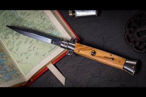 "Frank Beltrame Knives 9"" Italian Stiletto Automatic Bayonet Knife Olive Wood Polished Blade"