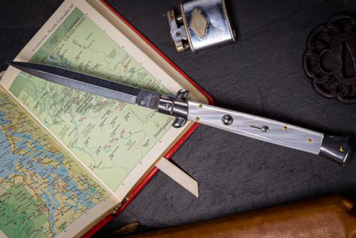 "Frank Beltrame Knives 11"" Italian Stiletto Automatic Dagger Knife Acrylic Satin Blade"