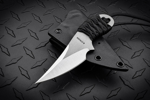 Strider Knives Small Persian Knife Satin Blade Black Paracord Wrapped Handle