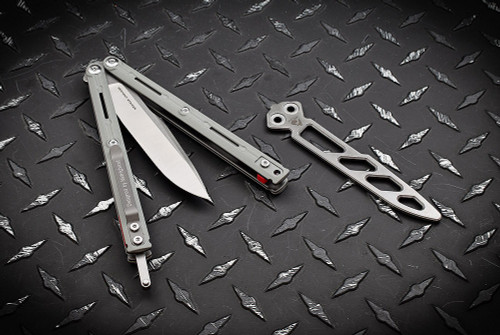 Maxace Knives Serpent Striker II Butterfly Knife Two Tone Satin Stonewash Drop Point Blade - Grey G-10
