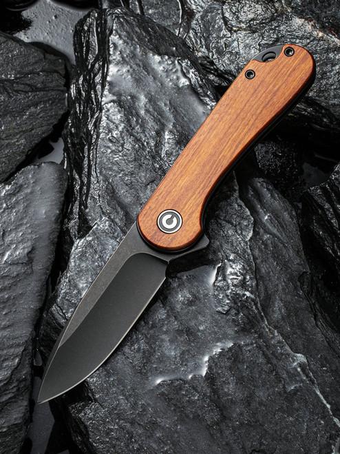 CIVIVI Elementum Liner Lock Knife Guibourtia Wood Black Stonewash C907U
