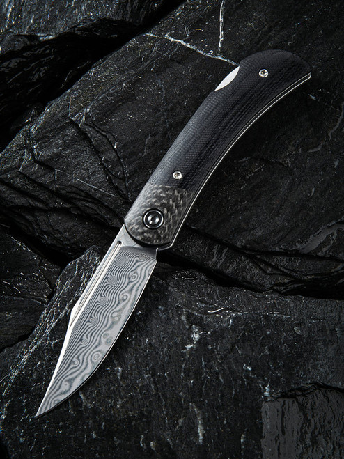 CIVIVI Rustic Gent Lock Back Knife Black G-10/CF Damascus C914DS-1