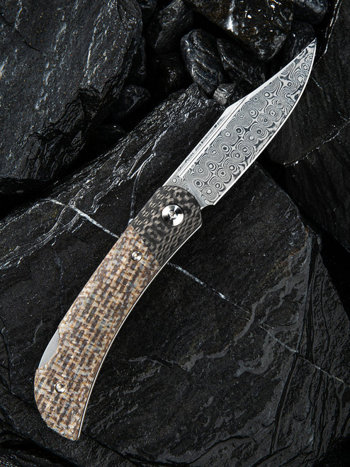 CIVIVI Rustic Gent Lock Back Knife Matrix Micarta/CF Damascus C914DS-2