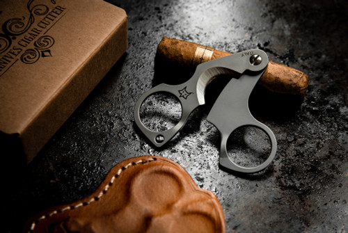 Fox Knives 747 Figaro Cigar Cutter w/ Custom Carry Leather Pouch