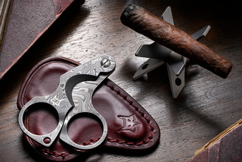 Fox Knives 747 D Damascus Figaro Cigar Cutter w/ Custom Carry Leather Pouch