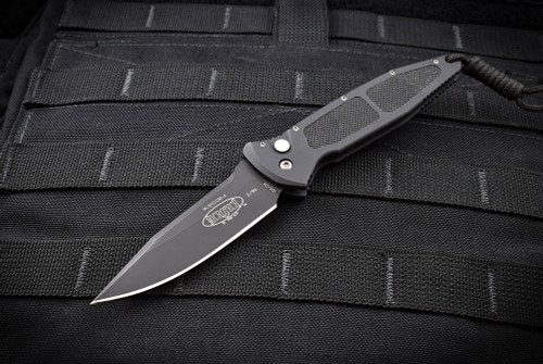Microtech Knives Rare Mini Socom Manual Knife Black Aluminum Handles and Blade  02/1999