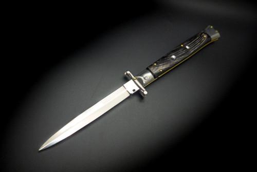 """Frank Beltrame Knives 11"""" Italian Stiletto Swinguard Automatic Dagger Knife Buffalo Horn Polished Blade"""