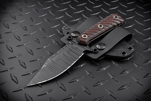 RMJ Tactical UCAP Hand Textured Black w/ Black/Cherry Handles