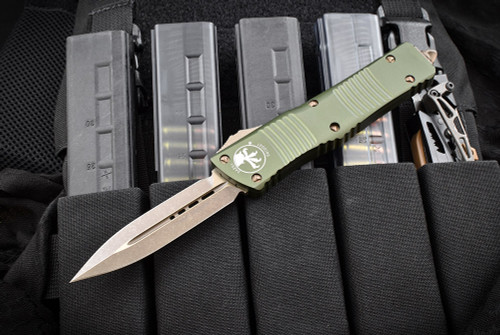 Microtech Knives Combat Troodon D/E OTF Automatic Knife Bronzed Apocalyptic Blade OD Green Handle 142-13-APOD