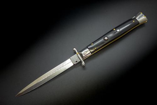 "Frank Beltrame Knives 11"" Italian Stiletto Swinguard Automatic Dagger Knife Black Polished Blade"