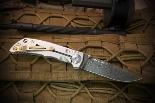 Spartan BladesHarsey Folder Chad Nichols Damascus Blade Titanium Handles
