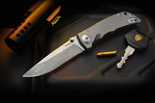 Spartan BladesHarsey Folder Stonewashed Blade w/ Satin Blasted Titanium Handles
