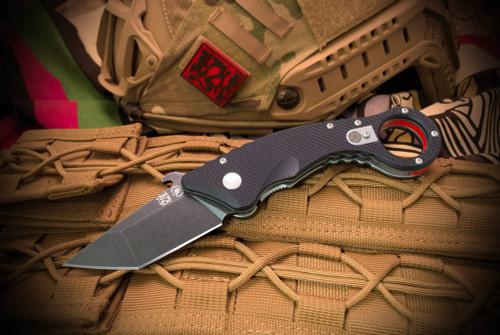 Spartan BladesRonin Shoto Karambit Black Tanto Blade Textured G-10 Black/Red Handles