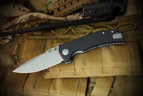 Spartan BladesAstor Liner Lock Tumbled Finish Blade Carbon Fiber G-10  Composite Handles