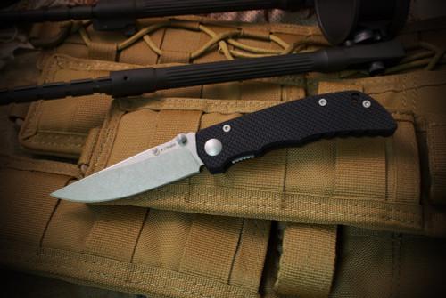 Spartan BladesTalos Liner Lock Tumbled Finish Blade Black G-10 Handles