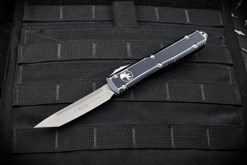 Microtech Knives Ultratech T/E OTF Automatic Knife Apocalyptic Blade Distressed Black Handle - 123-10 DBK