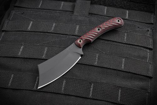 RMJ Tactical Jackdaw w/ Black/Cherry Handles And Black Cerakote Blade