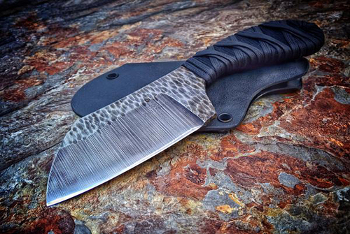 Ecos Knives Acid Washed Cleaver Knife w/ Black/Black Handle and Kydex Sheath