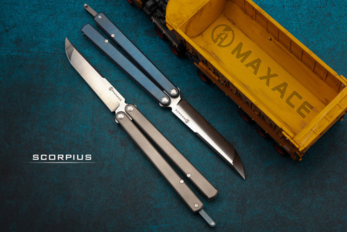 Maxace Knives Scorpius Butterfly Knife Satin Drop Point Blade w/ Titanium Handles