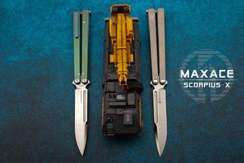 Maxace Knives Scorpius-X Butterfly Knife Satin Spear Point Blade w/ Titanium Handles