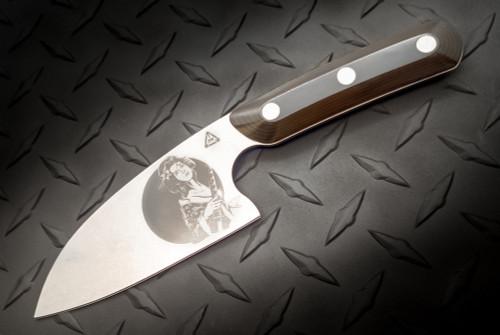 Zach Wood 4 Inch Santoku Style Culinary Battle Tool Brown/Black G-10 Scales w/ Geisha