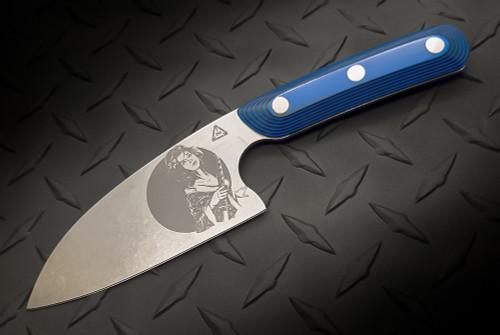 Zach Wood 4 Inch Santoku Style Culinary Battle Tool Blue/Black G-10 Scales w/ Geisha