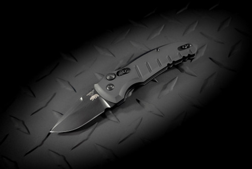 Hogue Knives CA Legal A01 Microswitch Automatic Knife Drop Point Blade Stonewashed Finish Black Scales (No Bottle Opener)- 24125