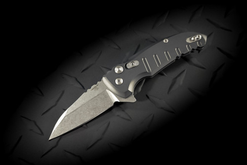 Hogue Knives X1 Microflip Flipper Knife Wharncliffe Blade Stonewash Finish Mate Grey Scales - 24162