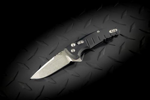 Hogue Knives X1 Microflip Flipper Knife Drop Point Blade Stonewash Finish Mate Black Scales - 24170