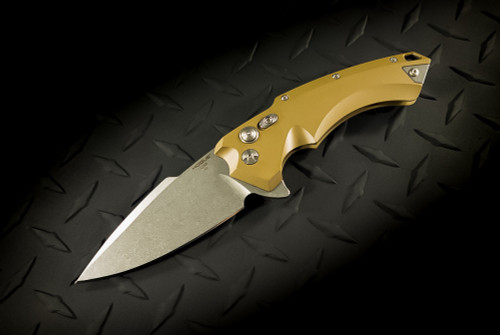 Hogue Knives X5 Flipper Knife Spear Point Blade Stonewash Finish FDE Scales - 34554