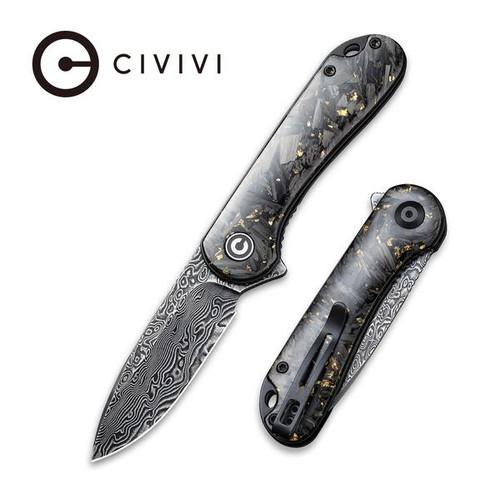 CIVIVI Elementum Liner Lock Flipper Knife Shredded Carbon Fiber And Golden Shred In Clear Resin Contoured Handle Black Hand Rubbed Damascus Blade  - C907C-DS1