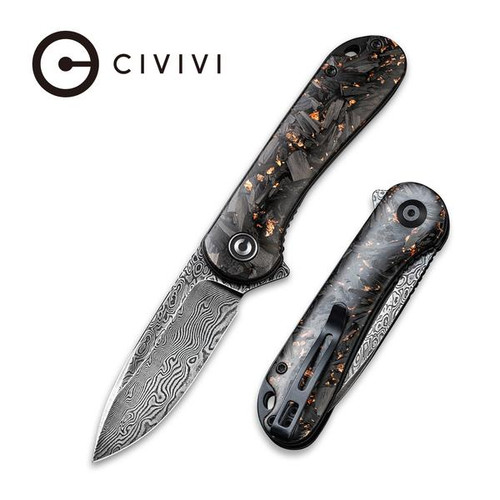 CIVIVI Elementum Liner Lock Flipper Knife Shredded Carbon Fiber And Copper Shred In Clear Resin Contoured Handle Black Hand Rubbed Damascus Blade - C907C-DS3