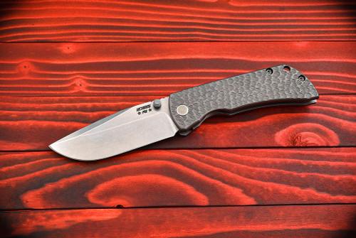 McNees Custom Knives PM MAC 2 Satin Stonewash Clip Point Blade Lava Titanium Handles