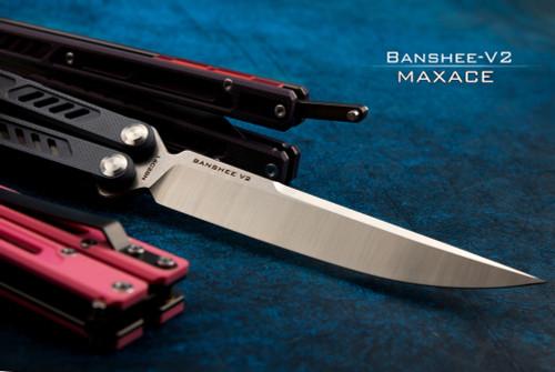 Maxace Knives MBIV Banshee V2 Butterfly Knife Drop Point Stonewash Satin Blade w/ G-10 Handle
