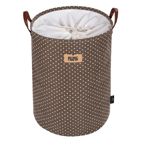 DOKEHOM 24-Inches Thickened X-Large Laundry Basket with Drawstring Waterproof Square Cube Cotton Linen Collapsible Storage Basket Grey Star, XL
