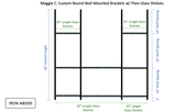 """Custom Round 1"""" Wall Mounted Brackets - 4 total w/ 1/4"""" Thick Glass Shelves - 8 total - Ships in 3  weeks"""
