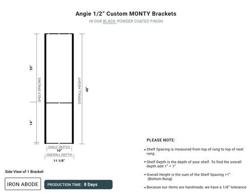 """8 Days Custom Monty 1/2"""" Ceiling Brackets- Angie"""
