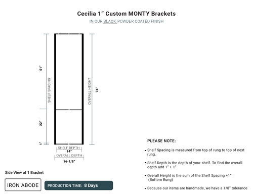"8 Day-  Monty 1"" Ceiling Brackets -Cecilia"