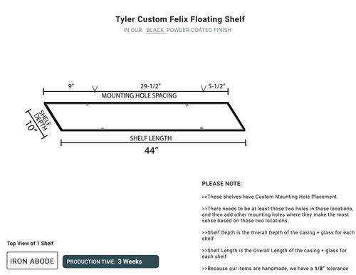 3 WEEKS- 3 Total Custom Felix Glass Shelves- Tyler