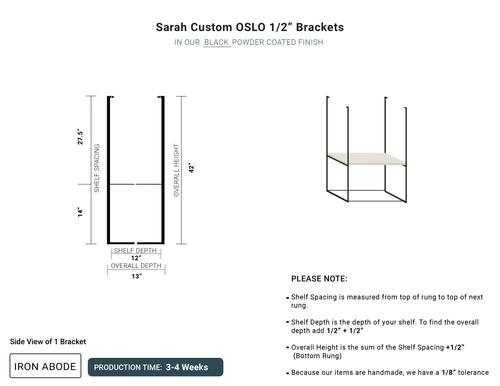 "3-4 WEEKS Custom Oslo 1/2"" Wood/Glass Unit- Sarah"