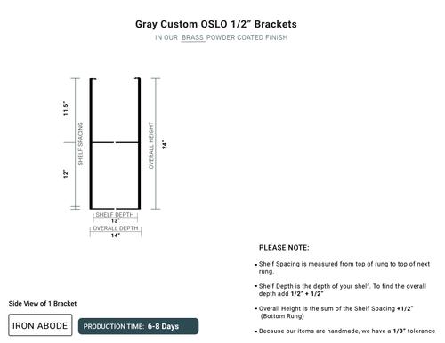 "6-8 Days- Custom Oslo 1/2"" Brackets -Gray"