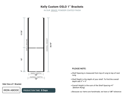 "8 Days- Custom Oslo 1"" Brackets -Kelly"
