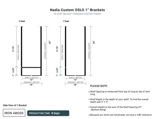 "8 Days- Custom Oslo 1"" Brackets with Detachable Railings -Nadia"