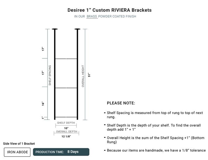 "8 Days- Custom Riviera 1"" Brackets -Desiree"